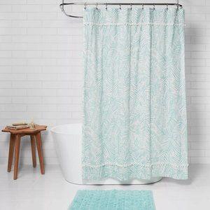 Caribbean Leaf Shower Curtain Aqua Opalhouse Poms